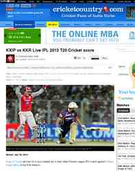 KXIP vs KKR Live IPL 2013 T20 Cricket: Cricket Country